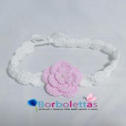 Diadema Blanca-Rosa